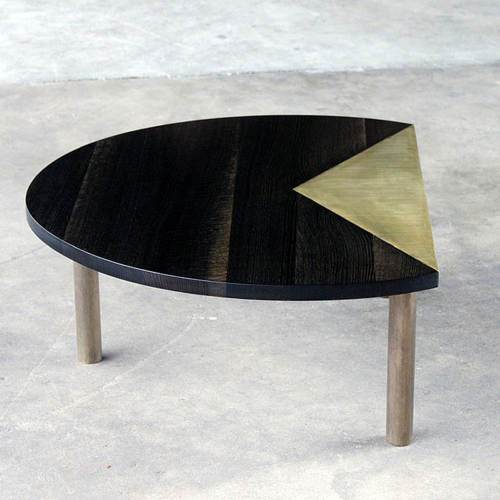 Elijah Leed Pauling Low Table Oxidized Oak and Etched Brass