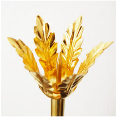 Pelle Brass Candleholder Single Leaf Top