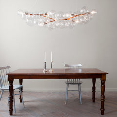 Pelle Designs Hand built Long Glass Bubble Chandelier In Room
