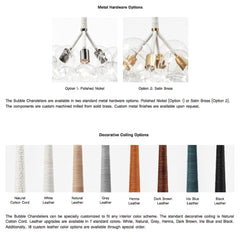 PELLE Bubble Chandeliers Material and Finish Options