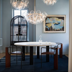 PELLE Bubble Chandeliers in situ PELLE NYC Showroom