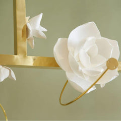 PELLE Lure Chandelier 12 Magnolia Flower and Brass Detail