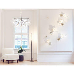 PELLE Lure Sconces and Supra Bubble Chandelier in situ in PELLE NY Showroom