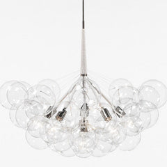 PELLE Supra Bubble Chandelier Polished Nickel with Cotton Cord