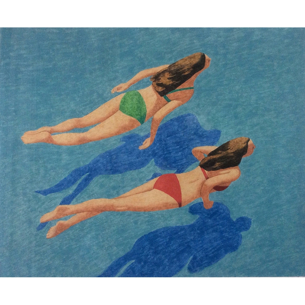 "Peter Butler Artist Red and Green Swimmers Original Oil on Paper 23""h x 28""w"