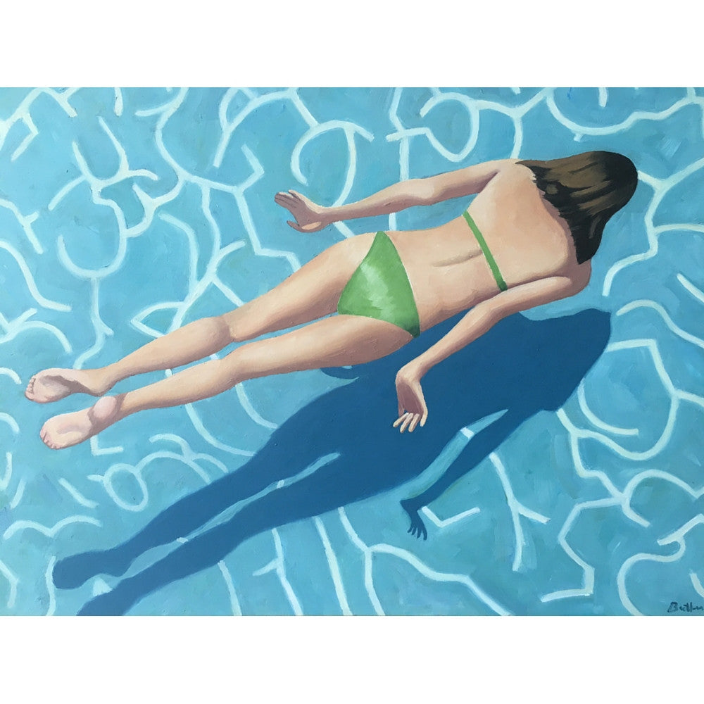 "Solo Swimmer by artist Peter Butler Original Oil on Panel 18""h x 24""w"