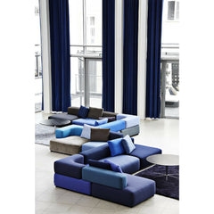 Blue Alphabet Sofa in Hotel Lobby by Piero Lissoni for Fritz Hansen