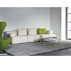 Piero Lissoni White Alphabet Sofa in Room with Green Egg Chair Fritz Hansen