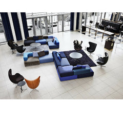Blue Piero Lissoni Alphabet Sofa in Lobby with Egg Chairs Fritz Hansen