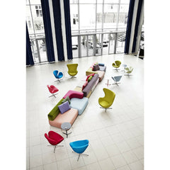 Piero Lissoni Multicolored Alphabet Sofa in Hotel Lobby with Swan and Egg Chairs Fritz Hansen