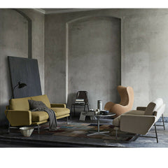 Piero Lissoni Two Seat Sofas in Room with Arne Jacobsen Egg Chair Fritz Hansen