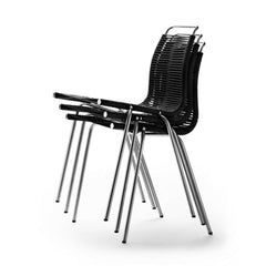 Poul Kjaerholm PK1 Chairs with Black Flag Halyard Stacked