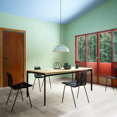 Poul Kjaerholm PK1 Chairs in Black Flag Halyard in room with Professor's Desk Carl Hansen and Son