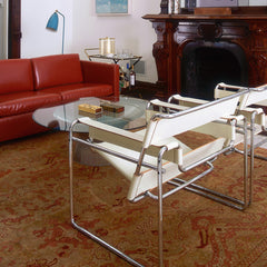 Platner Coffee Table in room with cream leather Wassily chairs and red leather Pfister sofa