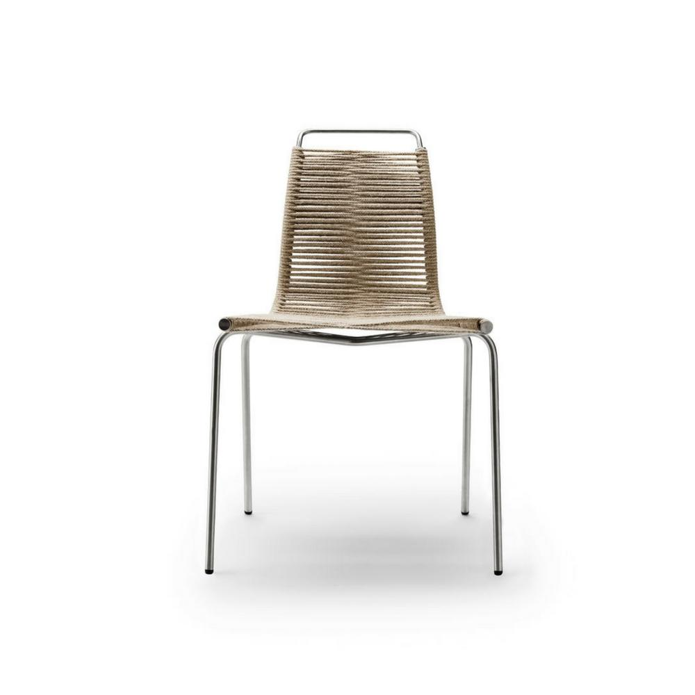 Poul Kjaerholm PK1 Chair Natural Flag Halyard and Chrome