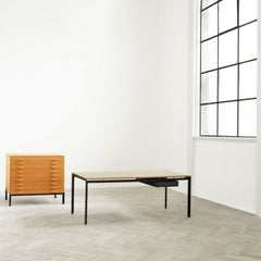 Poul Kjaerholm PK52A Student Desk with Black Drawer in Room with Filing Chest of Drawers Carl Hansen and Son