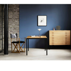 Poul Kjaerholm PK52 Desk in Room with Mogens Koock Folding Chair and Kjaerholm File Drawers Carl Hansen and Son