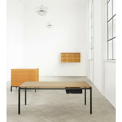 Poul Kjaerholm PK52 Professor Desk with Black Drawer in Room with Kjaerholm Filing Drawers and Mogens Koch Shelf Carl Hansen and Son.