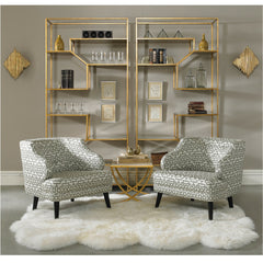 Ainsley Etageres in Room with Sheepskin Precedent Furniture Model 374-440