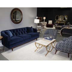 Precedent Furniture Blue Velvet Emma Sofa in Room