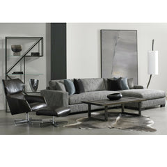Precedent Furniture Connor Sectional Sofa model 2667 in room with Sebastian Leather Swivel Chair Modern Loft Collection