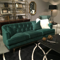Precedent Furniture Emma Sofa in Emerald Green Velvet in Living Room