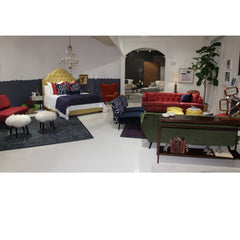 Precedent Furniture Emma Sofa in Debaccus Fuschia in Boho Modern Room