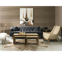 Precdent Emma Sofa in Grey Velvet in Room with Jasper Chair and Zaine Nesting Tables