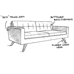 Precedent Furniture Jacob Sofa Design Sketch Model 3218-S1