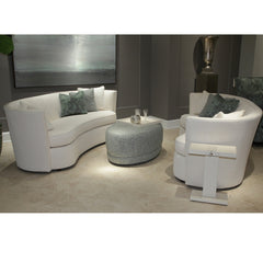 Precedent Furniture Leonardo Oval Ottoman in room with Art Deco Sofas