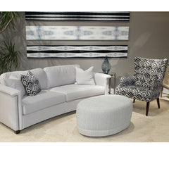 Precedent Furniture Leonardo Oval Ottoman in Room with Tristen Chair