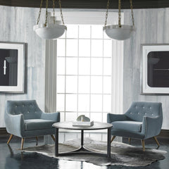 Precedent Furniture Marley Chairs in Grey Velvet with Contrast Buttons in Room