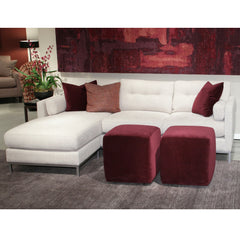 Precedent Furniture Preston Sofa in Room with Red Velvet Ottomans