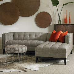 Precedent Furniture Silver Cole Chaise Sectional in room with orange velvet pillows
