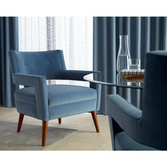 Precedent Hunter Chair in KnollTextiles Blue Velvet in Hotel Room