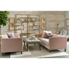 Precedent Penelope Sofas in room with Ainsley Etageres