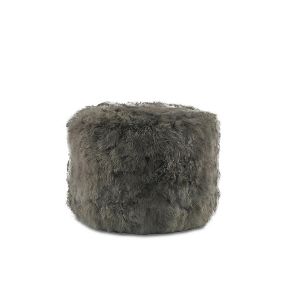 Precedent Simona Ottoman in Suri Alpaca Mink Hide by Moores and Gile