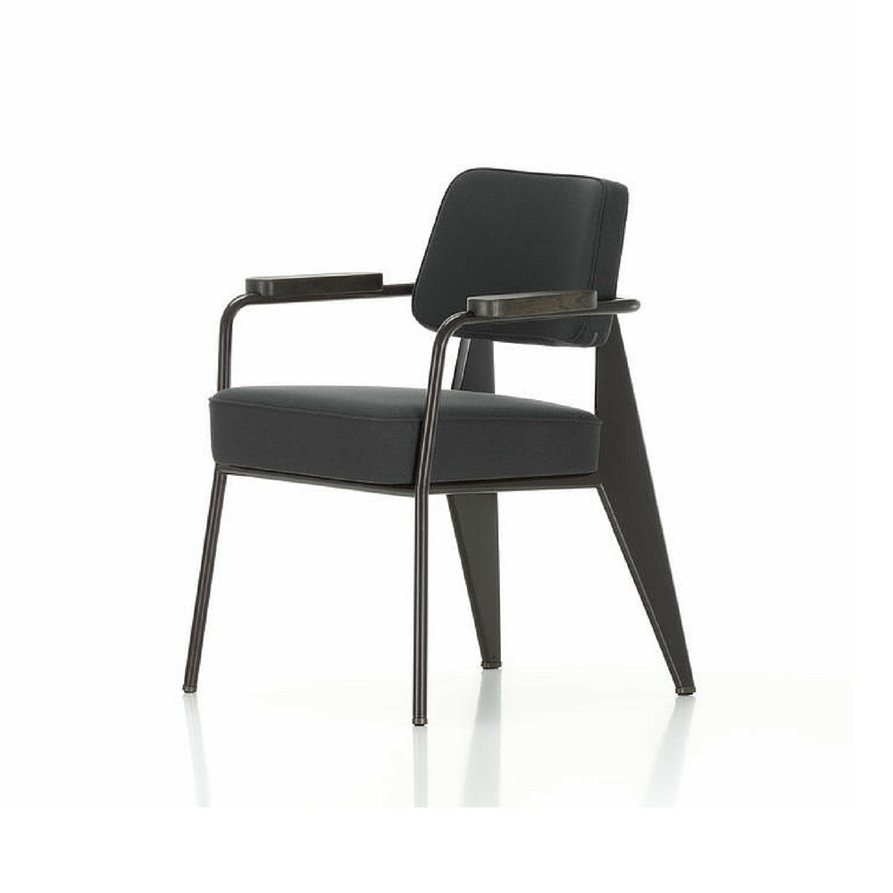 Prouve Fauteuil Direction Chair Black with Smoked Oak