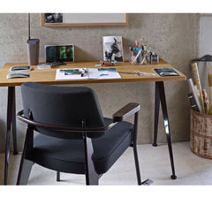 Prouve Fauteuil Direction Chair Black with Compas Direction Desk in Room Closeup Vitra