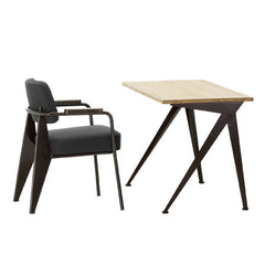 Prouve Fauteuil Direction Chair with Compas Direct Desk Oak Vitra