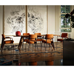 Prouve Fauteuil Direction Chairs Cognac in Dining Room Vitra