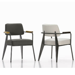 Prouve Fauteuil Direction Chairs Grey and White with Oak Vitra