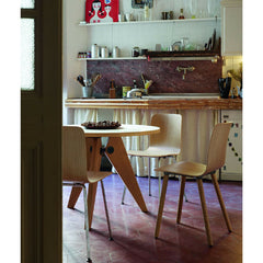 Prouve Gueridon Table in Kitchen with HAL Chairs Vitra