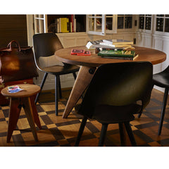 Prouve Gueridon Table in room with Tabouret Stool Vitra