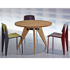 Prouve Oak Gueridon Table in Office with Standard Chairs Vitra