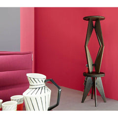 Prouve Smoked Oak Tabouret Solvay Stools Stacked in Room Vitra