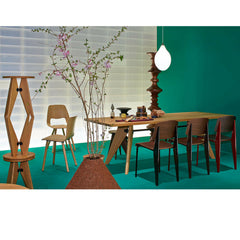Prouve Tabouret Solvay Stools Stacked in Green Room with Gueridon Table Vitra