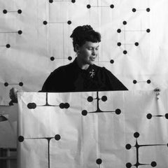 Ray Eames with Dot Pattern Blanket She Designed