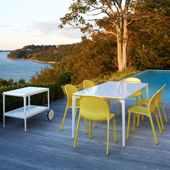 Jonathan Olivares Aluminum Outdoor Chairs with Stromborg Table and Richard Schultz Bar Cart