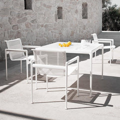 Richard Schultz 1966 Dining Table White Square by Stone Wall Outdoor Knoll